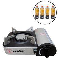 Kit Fogareiro Alu Compact com Acendedor Automático EchoLife + 4 Cartuchos de Gás CAMPGÁS -
