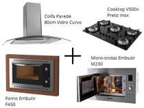 Kit Fogatti Coifa Parede 80cm + Cooktop V500x + Forno Embutir F450 Black + Micro-ondas M230 -