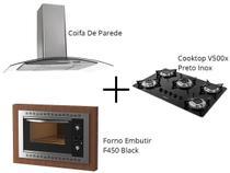 Kit Fogatti Coifa Parede 80cm + Cooktop V500x + Forno Embutir F450 Black -