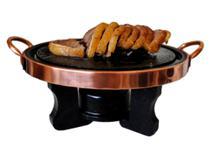 Kit Fondue de Pedra Sabão Para carne 31 centímetros Sendo 2 peças Rechaud e Grelha - Bras Art