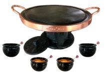 Kit fondue G 37 cm de pedra sabão e 4 tigelinhas com colher para molho - Bras Art
