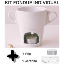 Kit Fondue Individual Caneca Porcelana Branca 250ml Inclui Vela e Mini Garfo - Casa Da Porcelana