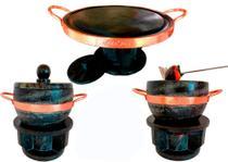 Kit Fondue Para Carne 37 cm +02 Fondue De Pedra Sabão 1,5 litros - Bras Art