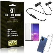 Kit Fone Bluetooth Galaxy S10 Lite + Capa Anti Impacto + Película Vidro 3D - Armyshield -