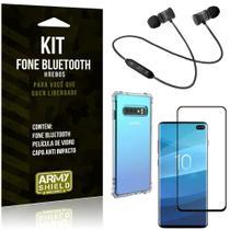 Kit Fone Bluetooth Hrebos Galaxy S10 Plus + Capa Anti + Película Vidro - Armyshield -