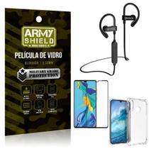 Kit Fone Bluetooth Hrebos HS188 Huawei P30 Lite + Película 3D + Capa Anti Impacto - Armyshield -