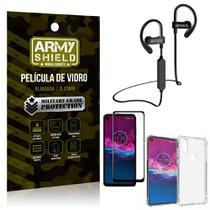 Kit Fone Bluetooth Hrebos HS188 Moto One Action + Película 3D + Capa Anti Impacto - Armyshield -