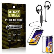 Kit Fone Bluetooth Hrebos HS188 Zenfone 5Z ZS620KL + Película 3D + Capa Anti Impacto - Armyshield -