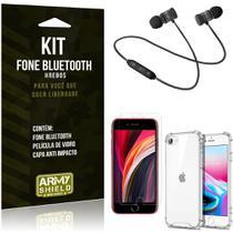 Kit Fone Bluetooth Hrebos iPhone SE 2020 + Capa Anti + Película Vidro - Armyshield -