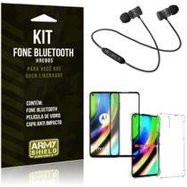 Kit Fone Bluetooth Hrebos Moto G9 Plus + Capa Anti Impacto + Película Vidro 3D - Armyshield -