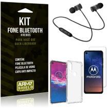 Kit Fone Bluetooth Hrebos Moto One Action + Capa Anti + Película Vidro - Armyshield -
