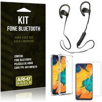 Kit Fone Bluetooth Sport 907 Galaxy A30 Fone + Capinha Anti Impacto + Película de Vidro - Armyshield -