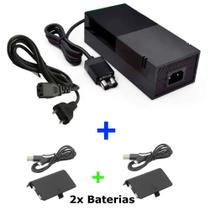 Kit Fonte de alimentação 2 Pinos + 2 Carregadores Controle Para Xbox One - Fonte Alimentacao