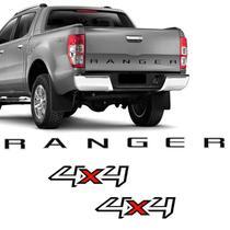 Kit Ford Ranger 2013/2016 Adesivo 4x4 E Faixa Tampa Traseira - SPORTINOX