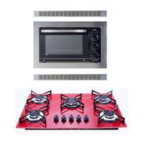 Kit Forno De Embutir 45l + Cooktop 5 Bocas Vermelh Safanelli -