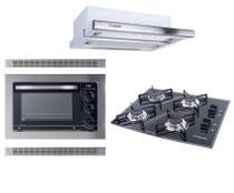 Kit Forno Elétrico Embutir 45L Cooktop 4B Preto Depurador Embutir Safanelli -