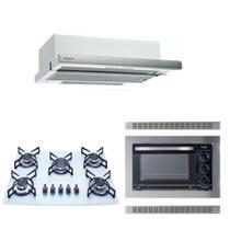 Kit Forno Elétrico Embutir 45L Cooktop Branco Depurador Embutir Safanelli -