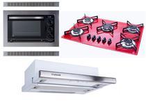 kIT Forno Elétrico Embutir 45L Cooktop Vermelho Depurador Embutir Safanelli -