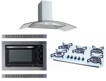 Kit Forno Elétrico Embutir Coifa Gourmet 90Cm Cooktop Colors Safanelli -
