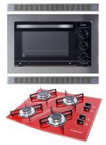 Kit Forno Embutir 45l + Cooktop 4 Bocas Vermelho Safanelli -