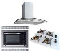 Kit Forno Embutir Coifa Gourmet 60cm Cooktop Branco 4b Safanelli -