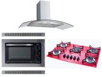 Kit Forno Embutir Coifa Gourmet 80 Cooktop Vermelho Safanelli -