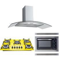 Kit Forno Embutir Coifa Gourmet 90 Cooktop Amarelo Safanelli -