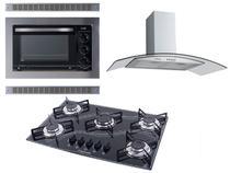 Kit Forno Embutir Coifa Gourmet 90 Cooktop Preto Safanelli -