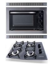 Kit Forno Embutir Inox 45L Cooktop 4 Bocas Preto Safanelli -