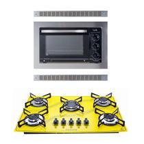 Kit Forno Embutir Inox 45L Cooktop 5Q Amarelo Safanelli -