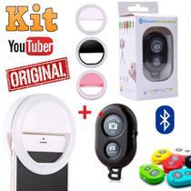 Kit Foto Luz Led Flash Ring Light Clip Anel Recarregável + Controle Disparador Bluetooth Celular Selfie - Leffa Shop