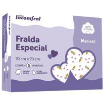 Kit  Fralda Bebê Inconfral Especial  Meninas 70 cm x 70 cm  Pacote com 5 unidades -