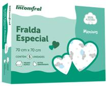 Kit Fralda Bebê Inconfral Especial  Meninos  70 cm x 70 cm  pacote com 5 unidades -