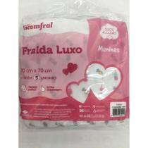 Kit Fralda Bebê Inconfral Luxo Meninas  70 cm x 70 cm  pacote com 5 unidades -