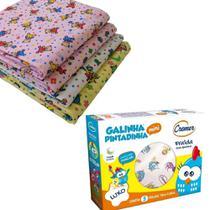 Kit Fralda de Pano Galinha Pintadinha + 4 Cueiros de Flanela 80cm X 80cm - Menina - Almofadas Garcia/Cremer