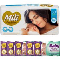 KIT Fralda Descartável Mili Love Care RN 1 pacote c/ 30+ Lenço Umedecido Baby Free (5 pacotes c/50) -