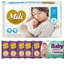 KIT Fralda Descartável Mili Love Care Tam: P pacote c/ 28+ Lenço Umedecido Baby Free (5 pacotes c/50) -