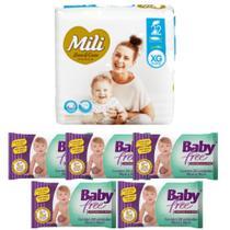 KIT Fralda Descartável Mili Love Care Tam: XG 1 pacote c/ 22+ Lenço Umedecido Baby Free (5 pacotes c/50) -