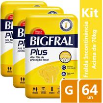 Kit Fralda Geriátrica Bigfral Plus G 64 unidades - Hypermarcas
