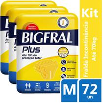 Kit Fralda Geriátrica Bigfral Plus M 72 unidades - Hypermarcas