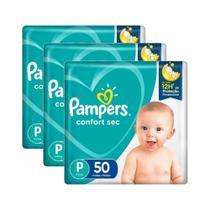 Kit Fralda Pampers Confort Sec 3 Pacotes Tamanho P 150un -