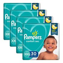 Kit Fralda Pampers Confort Sec 4 Pacotes Tamanho Xxg 120un -
