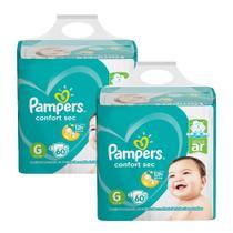 Kit Fralda Pampers Confort Sec Super Tamanho G 120 Tiras -