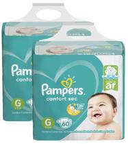 Kit Fralda Pampers Confort Sec Super Tamanho G 120 unidades -