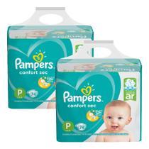 Kit Fralda Pampers Confort Sec Super Tamanho P 148 Tiras -