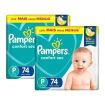 Kit Fralda Pampers Confort Sec Super Tamanho P 148 unidades -