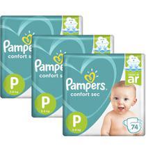 Kit Fralda Pampers Confort Sec Super Tamanho P 222 unidades -