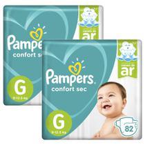 Kit Fralda Pampers Confort Sec Top Tamanho G 164 Tiras -