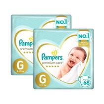 Kit Fralda Pampers Premium Care Jumbo Tamanho G 136 Unidades -