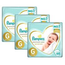Kit Fralda Pampers Premium Care Jumbo Tamanho G 204 Unidades -